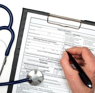 Health care paperwork stethoscope