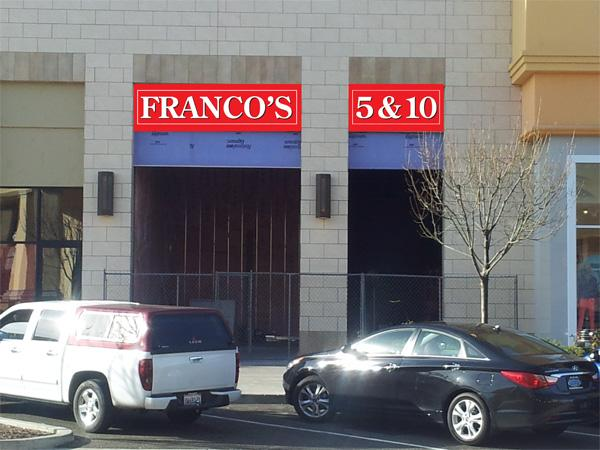 This a mockup of what the Franco's 5 & 10 sign might look like. Kirk Psenner, who already opened KwirkWorld at Palladio at Broadstone, plans to open a five-and-dime store in the shopping center in June.