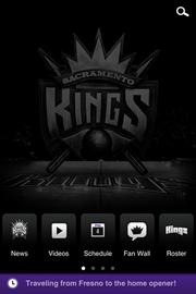 The Sacramento Kings will reward fans who post about the basketball team by setting aside #KingsHQ. Social media users can use the team's new app and other social media sites to track ways of getting upgraded to the courtside seats. This is the new app's home screen.