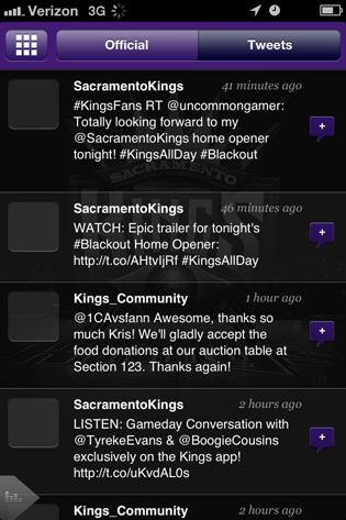 The Sacramento Kings will reward fans who post about the basketball team by setting aside #KingsHQ. Social media users can use the team's new app and other social media sites to track ways of getting upgraded to the courtside seats. This is a feed of Kings tweets and retweets via the app.
