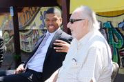 Two of Sacramento's biggest celebrities — Tower Records' Russ Solomon and Sacramento Mayor Kevin Johnson — came together to reminisce about the former music store chain and to raise money to archive its memorabilia.
