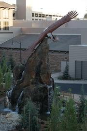 An eagle water feature outside the Jackson Rancheria Casino Resort.