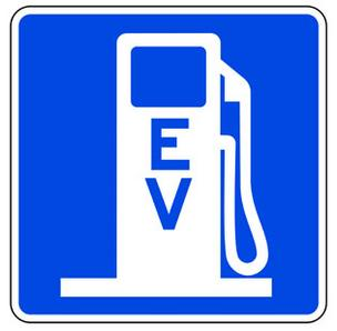Electric vehicle charger sign symbol