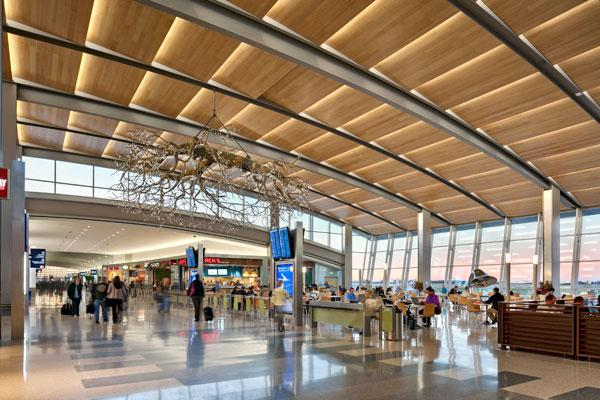 Sacramento International Airport's concourse features a terrazzo-tiled floor and a chandelier fashioned after ValleyOak tree branches.