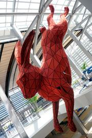 Terminal B's 56-foot red rabbit is one of 13 pieces of new public art at Sacramento International Airport entertaining passengers traveling to and from Sacramento.