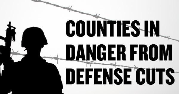 Some California counties would be hit particularly hard by defense budget cuts scheduled to take effect next year, according to data compiled by a pro-defense think tank in Washington.