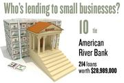 No. 10 (tie). American River Bank, with 214 loans worth $28,989,000 to businesses with revenue under $1 million.