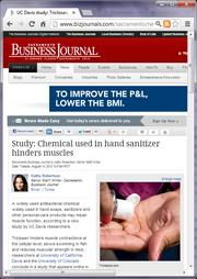 No. 10 -- UC Davis study: Triclosan, a chemical used in hand sanitizer, antibacterial soap may hinder muscles (August)