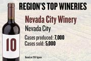 No. 10. Nevada City Winery of Nevada City produced 7,000 cases of wine in 2011 and sold 5,000 cases. It features wine tastings and tours by appointment.