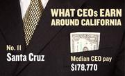 No. 11 Santa Cruz, with a median CEO salary of $178,770. The metropolitan area has an estimated 170 chief executives. A CEO in this area with 20-plus years of experience and a master's degree from the local CSU campus could expect a starting salary of $208,800.