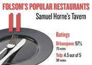No. 11. Samuel Horne's Tavern, with an average rating of 97 percent and 70 votes on Urbanspoon and an average rating of 4.5 stars and 90 votes on Yelp.