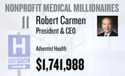 No. 11. Robert Carmen, president & CEO at Adventist Health of Roseville, received total compensation of $1,741,988 in the tax year ending Dec. 31, 2010. Base pay was $920,840.