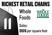 No. 11. Whole Foods Market, with average sales of $926 per square foot. The chain has 328 total stores and 2 stores locally. The stores sell groceries and general merchandise.