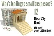 No. 12. River City Bank, with 150 loans worth $39,504,000 to businesses with revenue under $1 million.