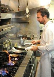 Chef Steve Toso at the stove in Biba Restaurant in Sacramento.