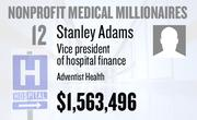 No. 12. Stanley Adams, vice president of hospital finance at Adventist Health of Roseville, received total compensation of $1,563,496 in the tax year ending Dec. 31, 2010. Base pay was $292,020.