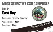 No. 14. East Bay, with an admission rate of 84.8 percent. The campus received 4,526 complete freshman applications for Fall 2011 and admitted 3,840.