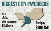 No. 15 -- $209,458 was the total gross pay in 2011 for an unnamed city manager in Elk Grove, according to the state controller's office. The amount includes $0 in overtime pay, $0 in lump-sum pay, and $11,355 in other pay.