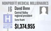 No. 16. David Benn, Central Valley regional president at Sutter Health of Sacramento, received total compensation of $1,374,955 in the tax year ending Dec. 31, 2010. Base pay was $596,953.