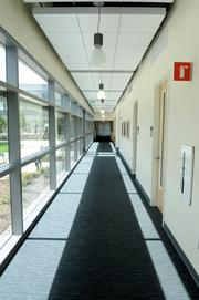 A hallway in the expansion of the UC Davis Comprehensive Cancer Center features lots of glass and sunlight.