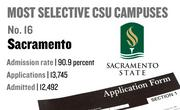No. 16. Sacramento, with an admission rate of 90.9 percent. The campus received 13,745 complete freshman applications for Fall 2011 and admitted 12,492.