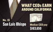 No. 16 San Luis Obipo, with a median CEO salary of $163,650. The metropolitan area has an estimated 140 chief executives. A CEO in this area with 20-plus years of experience and a master's degree from the local CSU campus could expect a starting salary of $206,400.