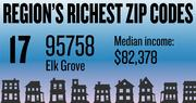 No. 17 -- 95758 in Elk Grove, with an estimated median household income of $82,378 in 2012, according to the data firm Esri. The estimated median net worth was $155,422 and the estimated median home value was $213,785.