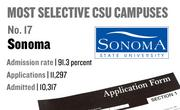 No. 17. Sonoma, with an admission rate of 91.3 percent. The campus received 11,297 complete freshman applications for Fall 2011 and admitted 10,317.
