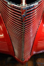 Detail of the front end of a 1939 Chevrolet coupe street and drag rod at Bertolucci's Body and Fender Shop.