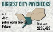 No. 19 -- $205,426 was the total gross pay in 2011 for an unnamed public works director in Folsom, according to the state controller's office. The amount includes $0 in overtime pay, $44,067 in lump-sum pay, and $15,496 in other pay.
