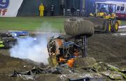 A monster truck overturns at a recent monster truck rally.