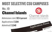 No. 19. Channel Islands, with an admission rate of 92.4 percent. The campus received 3,841 complete freshman applications for Fall 2011 and admitted 3,548.