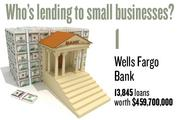 No. 1. Wells Fargo Bank, with 13,845 loans worth $459,770,000 to businesses with revenue under $1 million.