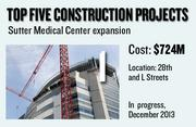 The Sutter Medical Center expansion project includes the Anderson Luccetti Women's and Children's Center. It's located at 28th and L streets. The expected construction cost is $724 million. The project is in progress, with a projected completion date of December 2013.