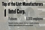 No. 1. Intel Corp. has 6,000 employees working in Folsom, working It does research, develops computer chips and chipsets, including desktop, mobile and server processor products.
