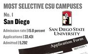 No. 1. San Diego, with an admission rate of 15.8 percent. The campus received 33,431 complete freshman applications for Fall 2011 and admitted 5,296.