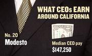 No. 20 Modesto, with a median CEO salary of $147,250. The metropolitan area has an estimated 250 chief executives. A CEO in this area with 20-plus years of experience and a master's degree from the local CSU campus could expect a starting salary of $173,800.