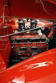Detail of the engine of a 1939 Chevrolet coupe street and drag rod at Bertolucci's Body and Fender Shop. It has a 292 cubic-inch engine that produces 300 horsepower. It can do 103 mph on the quarter-mile on street tires.