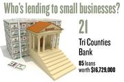 No. 21. Tri Counties Bank, with 85 loans worth $16,729,000 to businesses with revenue under $1 million.