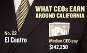 No. 22 El Centro, with a median CEO salary of $142,250. The metropolitan area has an estimated 60 chief executives. A CEO in this area with 20-plus years of experience and a master's degree from the local CSU campus could expect a starting salary of $157,200.