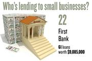 No. 22. First Bank, with 61 loans worth $9,085,000 to businesses with revenue under $1 million.