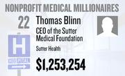 No. 22. Thomas Blinn, CEO of the Sutter Medical Foundation at Sutter Health of Sacramento, received total compensation of $1,253,254 in the tax year ending Dec. 31, 2010. Base pay was $494,089.