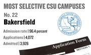 No. 22. Bakersfield, with an admission rate of 96.4 percent. The campus received 4,072 complete freshman applications for Fall 2011 and admitted 3,926.