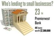 No. 23 (tie). Premierwest Bank, with 44 loans worth $7,380,000 to businesses with revenue under $1 million.