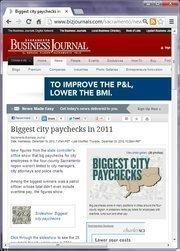 No. 23 -- Biggest city paychecks in 2011 (December)