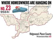 No. 23. 96140 in Ridgewood, Placer County, with a Perseverance Index of 6.8. The ZIP code had a delinquency rate of 3.9 percent and a negative equity rate of 26.7 percent in the first quarter, according to Zillow.