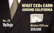 No. 25 Vallejo, with a median CEO salary of $59,650. The metropolitan area has an estimated 270 chief executives. A CEO in this area with 20-plus years of experience and a master's degree from the local CSU campus could expect a starting salary of $188,400.