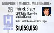 No. 26. Patrick Brady, CEO of Sutter Roseville Medical Center at Sutter Health Sacramento Sierra Region of Sacramento, received total compensation of $1,059,659 in the tax year ending Dec. 31, 2010. Base pay was $484,034.