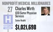 No. 27. Charles Wirth, CEO of Sutter Physician Services at Sutter Health of Sacramento, received total compensation of $1,021,698 in the tax year ending Dec 31 2010. Base pay was $465,554.