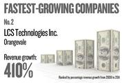 No. 2. LCS Technologies Inc. of Orangevale grew revenue by 410.45 percent between 2009 and 2011.